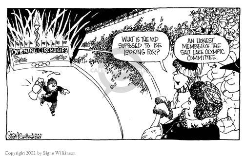 Cartoonist Signe Wilkinson  Signe Wilkinson's Editorial Cartoons 2002-02-11 political scandal