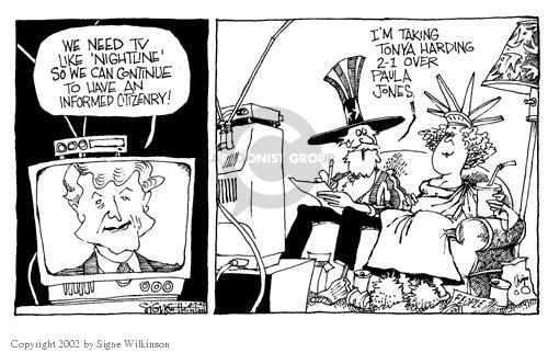 Cartoonist Signe Wilkinson  Signe Wilkinson's Editorial Cartoons 2002-03-07 network news