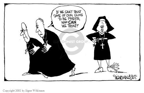Cartoonist Signe Wilkinson  Signe Wilkinson's Editorial Cartoons 2002-03-13 gender discrimination