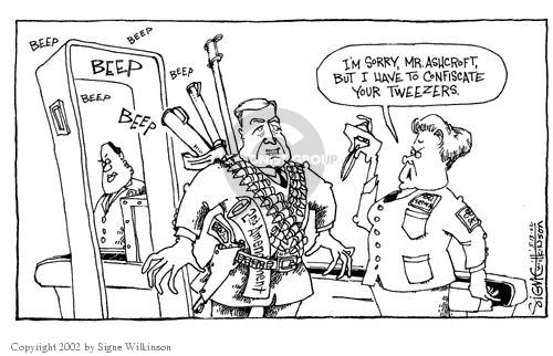 Cartoonist Signe Wilkinson  Signe Wilkinson's Editorial Cartoons 2002-05-13 airport security