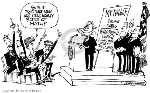 Cartoonist Signe Wilkinson  Signe Wilkinson's Editorial Cartoons 2005-01-27 gender discrimination