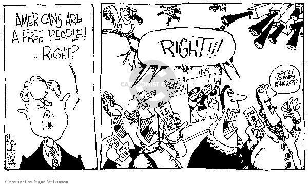 Cartoonist Signe Wilkinson  Signe Wilkinson's Editorial Cartoons 2003-01-30 scan