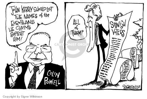 Cartoonist Signe Wilkinson  Signe Wilkinson's Editorial Cartoons 2004-03-16 2004 election