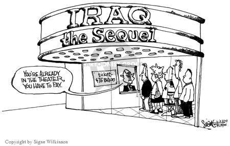 Cartoonist Signe Wilkinson  Signe Wilkinson's Editorial Cartoons 2003-03-27 cost