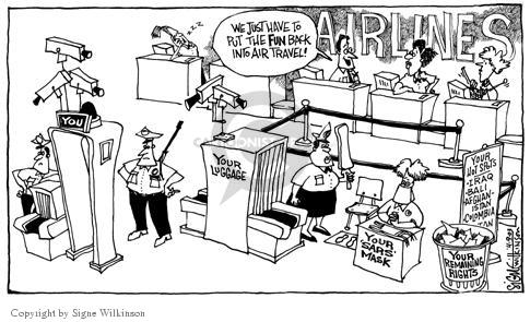 Cartoonist Signe Wilkinson  Signe Wilkinson's Editorial Cartoons 2003-04-09 airport security