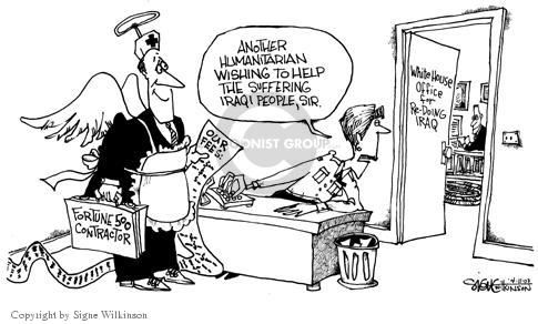 Cartoonist Signe Wilkinson  Signe Wilkinson's Editorial Cartoons 2003-04-11 rebuild