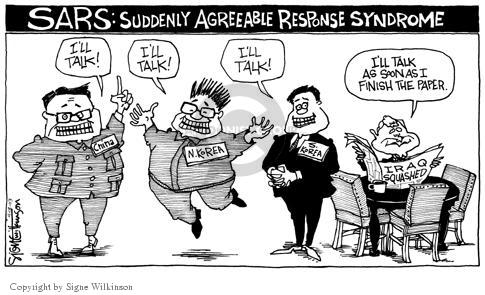 Cartoonist Signe Wilkinson  Signe Wilkinson's Editorial Cartoons 2003-04-18 SARS