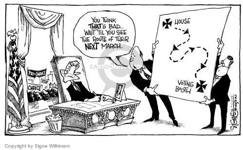 Cartoonist Signe Wilkinson  Signe Wilkinson's Editorial Cartoons 2004-04-27 2004 election