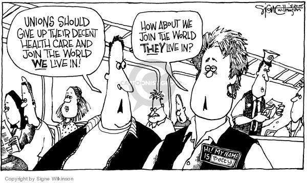 Signe Wilkinson  Signe Wilkinson's Editorial Cartoons 2005-05-20 employment benefits