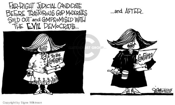 Cartoonist Signe Wilkinson  Signe Wilkinson's Editorial Cartoons 2005-05-26 candidate