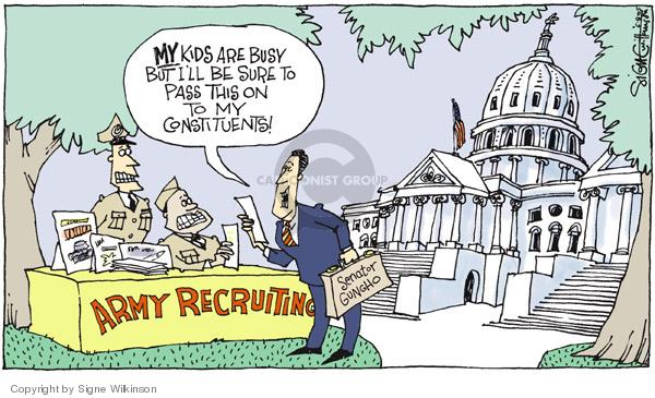 Cartoonist Signe Wilkinson  Signe Wilkinson's Editorial Cartoons 2005-06-08 recruitment