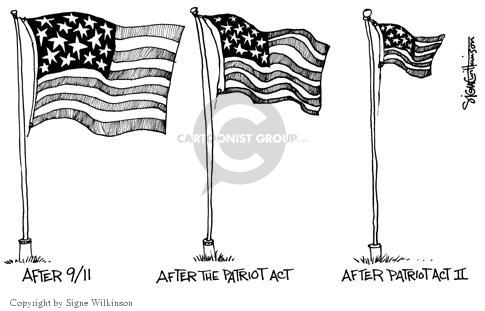 After 9/11. (Large flag.)  After the Patriot Act. (Medium flag.)  After Patriot Act II. (Small flag.)