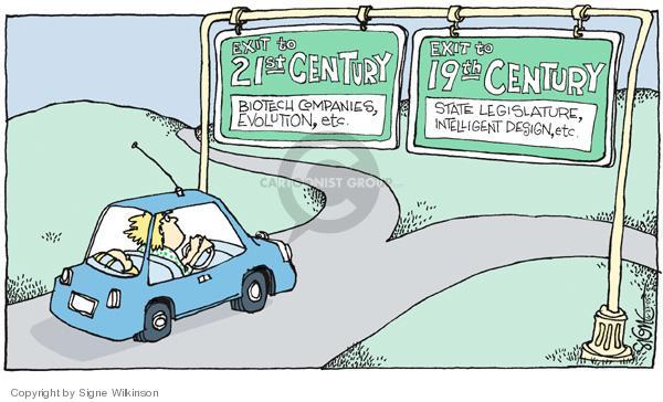 Exit to 21st Century.  Biotech companies, evolution, etc.  Exit to 19th Century.  State Legislature, intelligent design, etc.