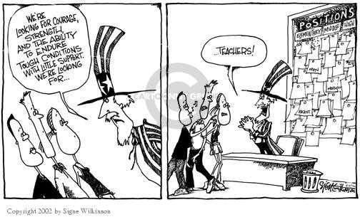 Cartoonist Signe Wilkinson  Signe Wilkinson's Editorial Cartoons 2002-07-08 recruitment