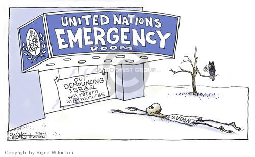 United Nations Emergency Room.  Out denouncing Israel.  Will return in ? Minutes.  Sudan.