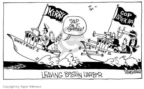 Leaving Boston Harbor.  Kerry.  Swift Boat I.  Step on it, Skipper!  GOP Attack Ads.  Swift Boat II.