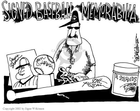 Signe Wilkinson  Signe Wilkinson's Editorial Cartoons 2002-08-14 baseball player