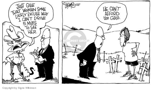 Cartoonist Signe Wilkinson  Signe Wilkinson's Editorial Cartoons 2005-08-19 Crawford, Texas