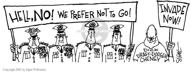 Cartoonist Signe Wilkinson  Signe Wilkinson's Editorial Cartoons 2002-08-30 Dick Cheney