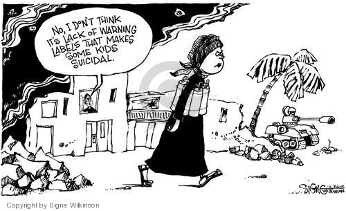 Cartoonist Signe Wilkinson  Signe Wilkinson's Editorial Cartoons 2004-09-16 military mental health