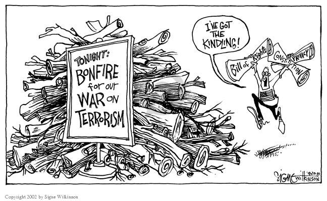 Tonight:  Bonfire for our War on Terrorism.  Ive got the kindling!  Bill of Rights.  Constitution.  Privacy.