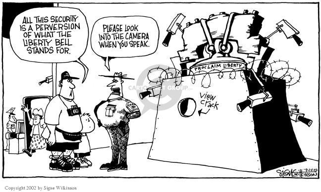 Cartoonist Signe Wilkinson  Signe Wilkinson's Editorial Cartoons 2002-09-24 invasion of privacy
