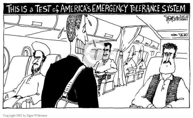 Cartoonist Signe Wilkinson  Signe Wilkinson's Editorial Cartoons 2001-09-25 airport security
