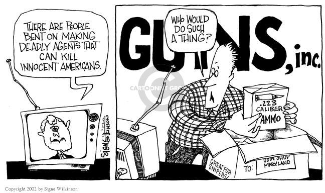 Cartoonist Signe Wilkinson  Signe Wilkinson's Editorial Cartoons 2002-10-09 ammo