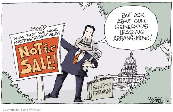 Signe Wilkinson  Signe Wilkinson's Editorial Cartoons 2006-03-31 congressional scandal