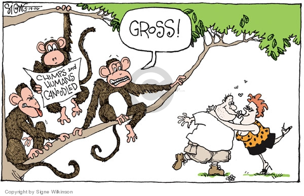 Chimps and Humans Canoodled.  Gross!
