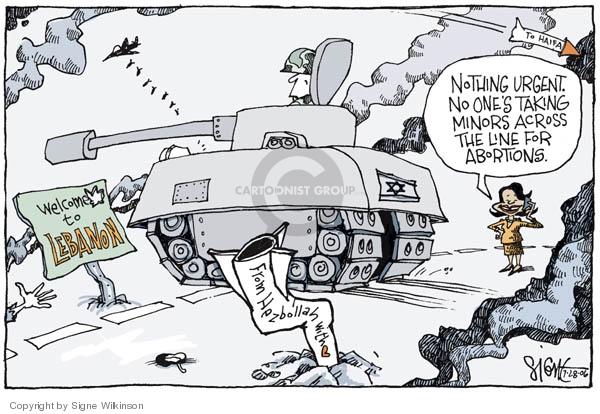 Signe Wilkinson  Signe Wilkinson's Editorial Cartoons 2006-07-28 Lebanon