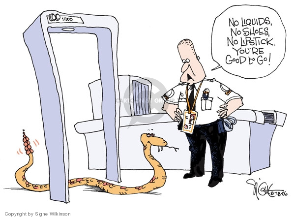Cartoonist Signe Wilkinson  Signe Wilkinson's Editorial Cartoons 2006-08-18 airport security