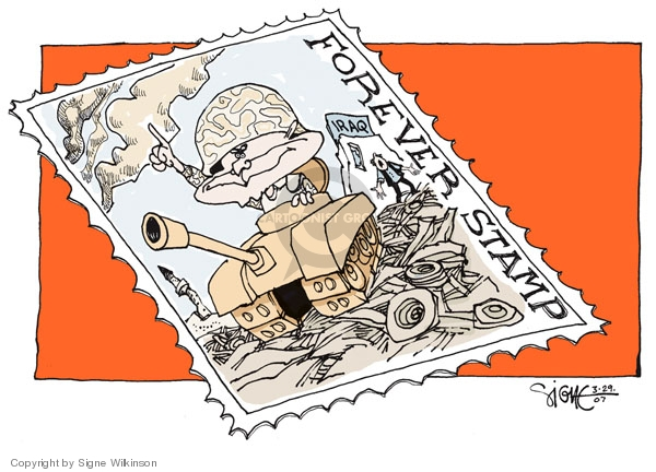 """Forever Stamp.  Iraq.  (President George W. Bush, in military uniform and helmet, sits in a tank amidst rubble in Iraq.  He raises his finger in a """"Number 1"""" type gesture.)"""