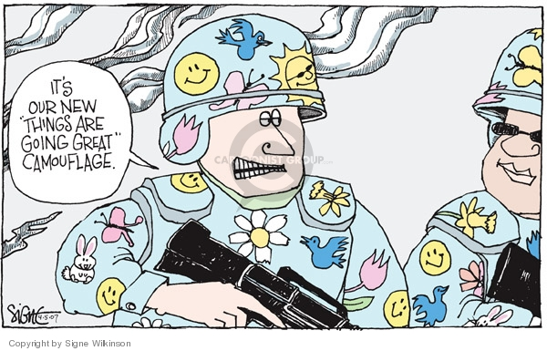 Cartoonist Signe Wilkinson  Signe Wilkinson's Editorial Cartoons 2007-04-05 military uniform