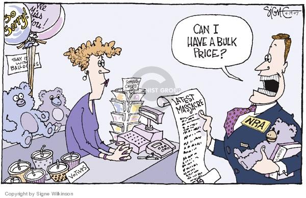 Cartoonist Signe Wilkinson  Signe Wilkinson's Editorial Cartoons 2007-04-19 gun rights
