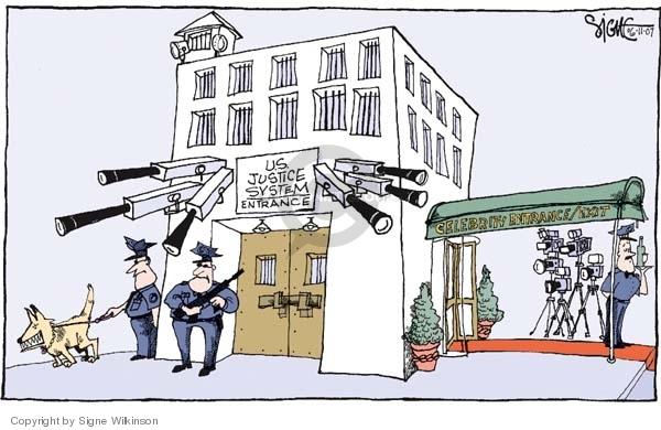 U.S. Justice System.  Entrance.  Celebrity Entrance/Exit.