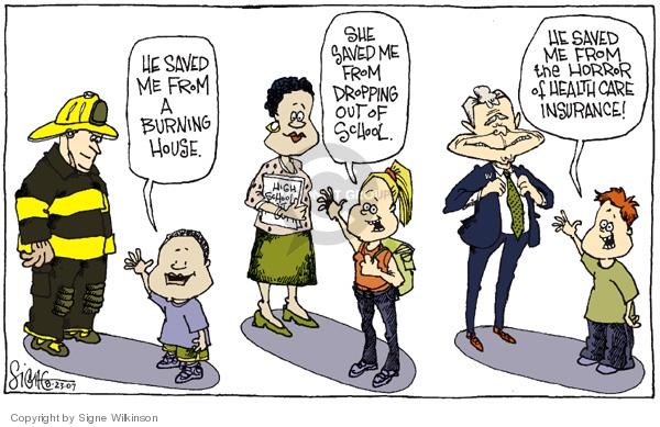 Cartoonist Signe Wilkinson  Signe Wilkinson's Editorial Cartoons 2007-08-23 insurance coverage