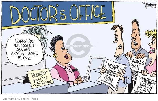 Cartoonist Signe Wilkinson  Signe Wilkinson's Editorial Cartoons 2007-09-20 health care plan