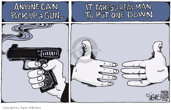 Cartoonist Signe Wilkinson  Signe Wilkinson's Editorial Cartoons 2008-01-21 gun rights