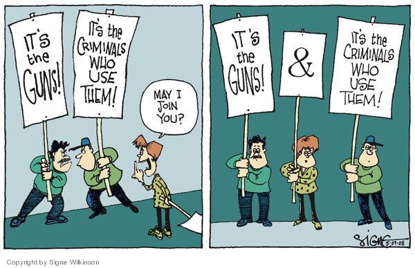 Cartoonist Signe Wilkinson  Signe Wilkinson's Editorial Cartoons 2008-05-07 gun rights