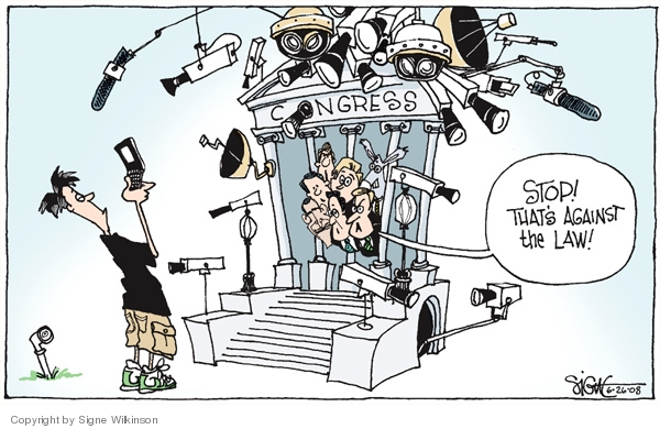 Cartoonist Signe Wilkinson  Signe Wilkinson's Editorial Cartoons 2008-06-26 cell phone privacy