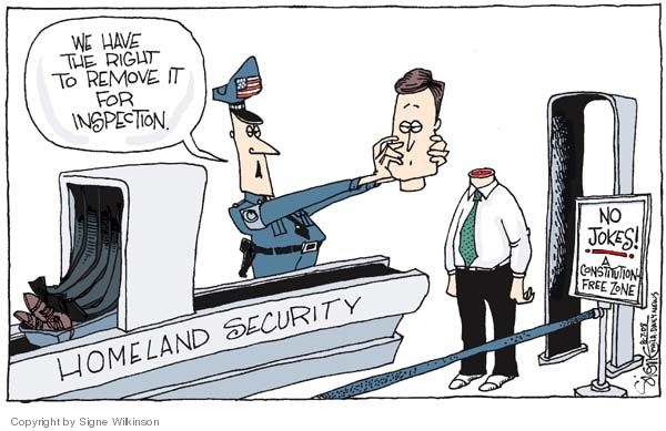 Cartoonist Signe Wilkinson  Signe Wilkinson's Editorial Cartoons 2008-08-07 airport security