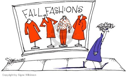 Fall Fashions.  (Woman wearing a blue coat, signifying the democratic party, walks by a store window that display different red clothes, signifying the republican party.)