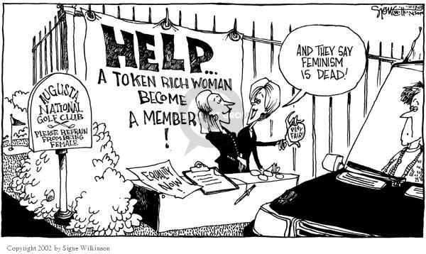 Cartoonist Signe Wilkinson  Signe Wilkinson's Editorial Cartoons 2002-11-13 gender discrimination