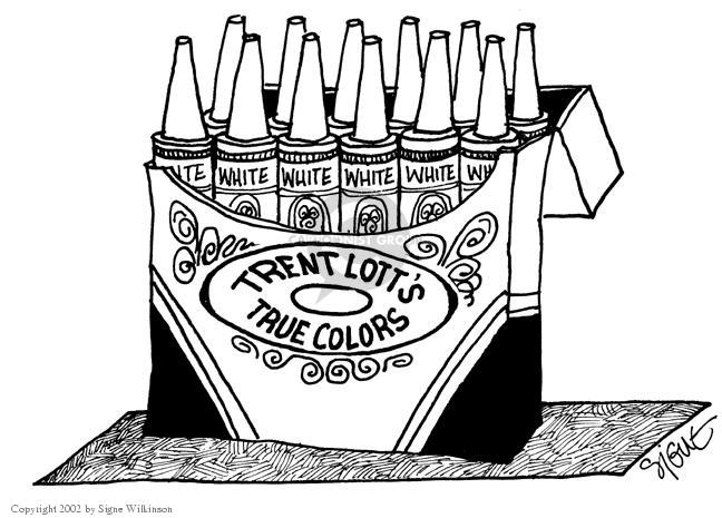 Cartoonist Signe Wilkinson  Signe Wilkinson's Editorial Cartoons 2002-12-12 segregation