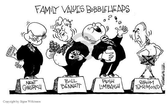 Family Values Bobbleheads.  Newt Gingrich.  Divorce.  Bill Bennett.  Rush Limbaugh.  Strom Thurmond.