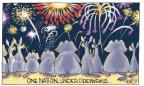 Cartoonist Signe Wilkinson  Signe Wilkinson's Editorial Cartoons 2014-07-04 pledge of allegiance