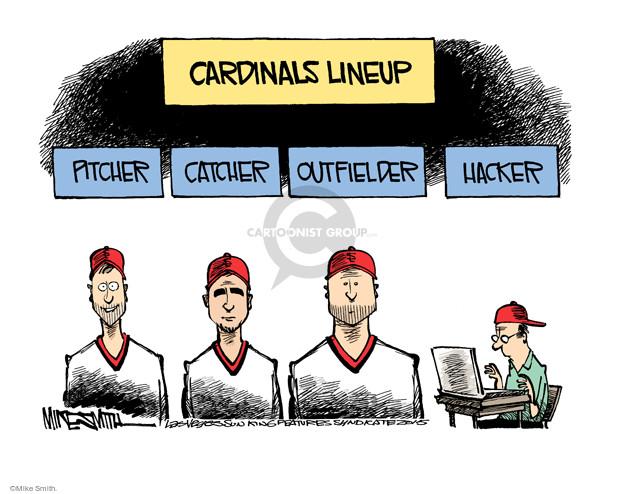 Cardinals Lineup. Pitcher. Catcher. Outfielder. Hacker.
