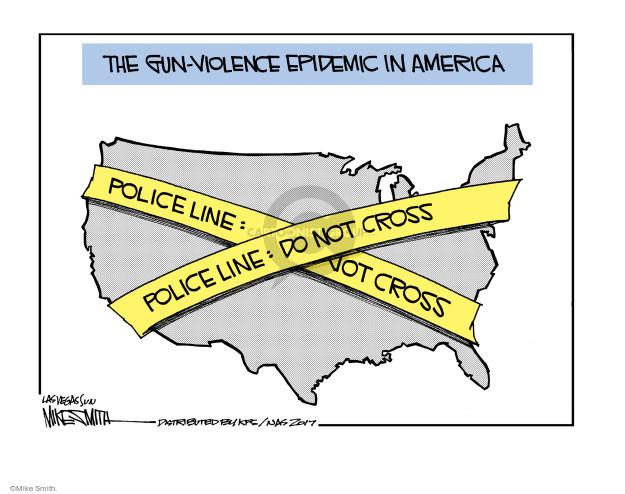 The gun-violence epidemic in America. Police line: Do not cross.