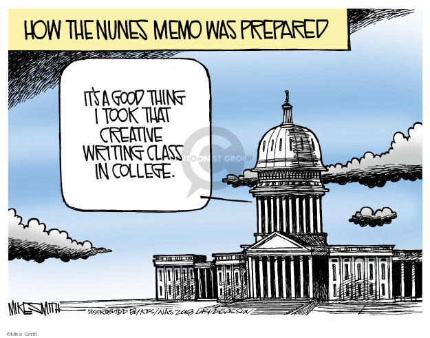 How the Nunes memo was prepared. Its a good thing I took that creative writing class in college.